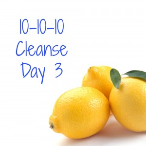Day 3 of the 10-10-10 cleanse…